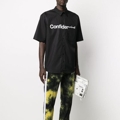 Marcelo Burlon Confidential-print short sleeved shirt 男文字印花襯衫 限時超低折扣代購中