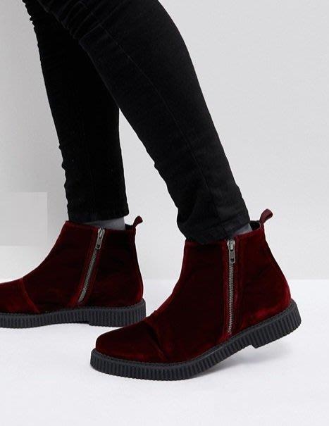 ◎美國代買◎ASOS拉鏈設計齒紋狀鞋底紅絲絨拉鏈短靴 ~歐美街風~大尺碼