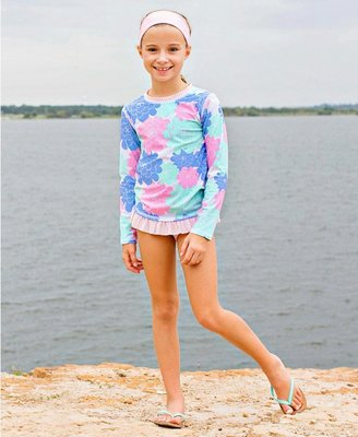 【現貨】Qutie.B ❤ 美國 RuffleButts ❤ 粉嫩花辦兩件式長袖泳裝  寶寶防曬泳衣