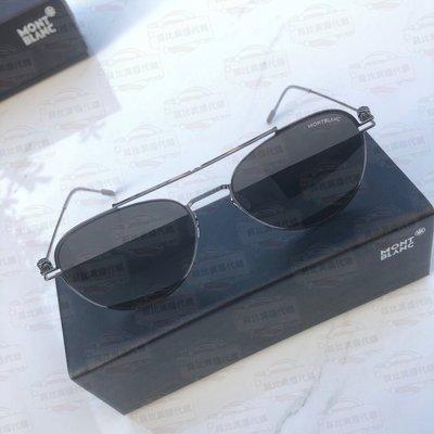 【菲比代購&歐美精品代購專家】Montblanc 萬寶龍 MB0001S 黑色框配銀色鏡架 樹酯尼龍鏡片 經典 太陽眼鏡