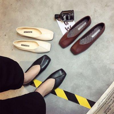 2018韓版夏季新款復古方頭奶奶鞋平底淺口單鞋女百搭軟底社會女鞋