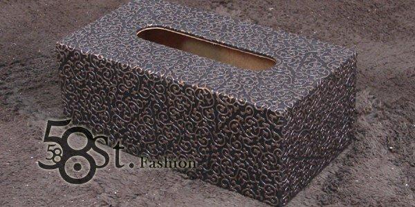 【58街】設計款式「巴洛克風紋路皮革製品面紙盒、紙巾盒」。AF-080