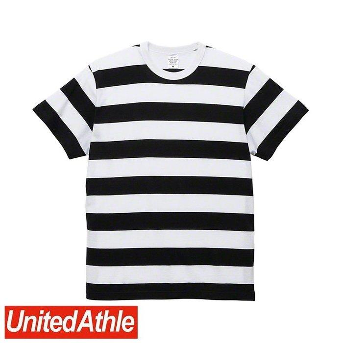 DIBO 免運~United Athle 男生 女生 日本UA 頂級柔棉 圓領短袖 條紋 T恤 5625-白/黑-粗橫條