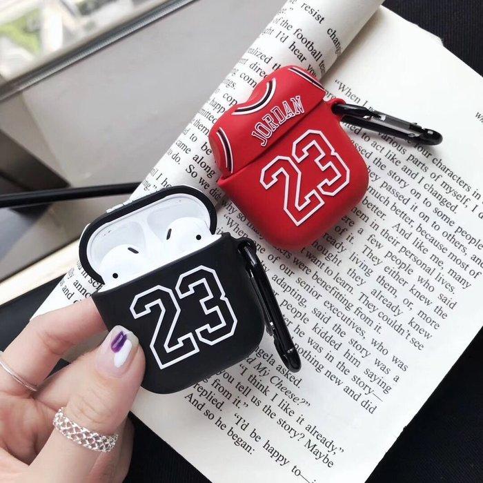 爆款熱賣-潮23號球衣airpods保護套2代蘋果無線藍牙耳機收納盒防摔硅膠軟殼