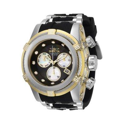 瑞士製 Invicta 限時特賣稀有款22折! 53mm Bolt 鋼索銀黑三眼手錶男錶潛水錶28159全新真品