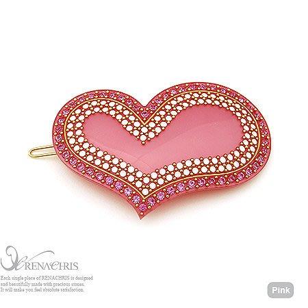 BHI206-法國品牌RenaChris 施華洛世奇晶鑽愛心髮夾 扣夾 邊夾-附原裝包裝盒