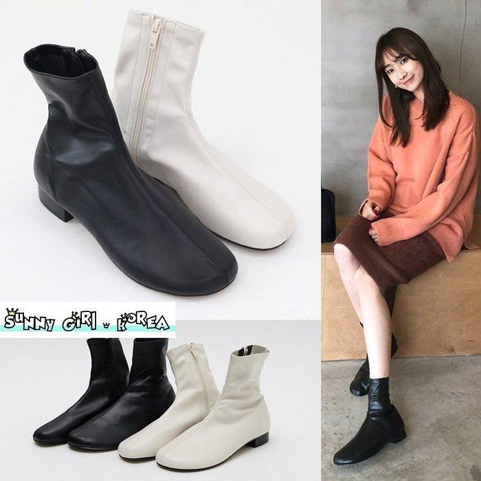 正韓短靴*Sunny Girl*韓國代購圓頭側拉鏈低跟軟皮馬丁靴 2019九月新款 - [WH1359]