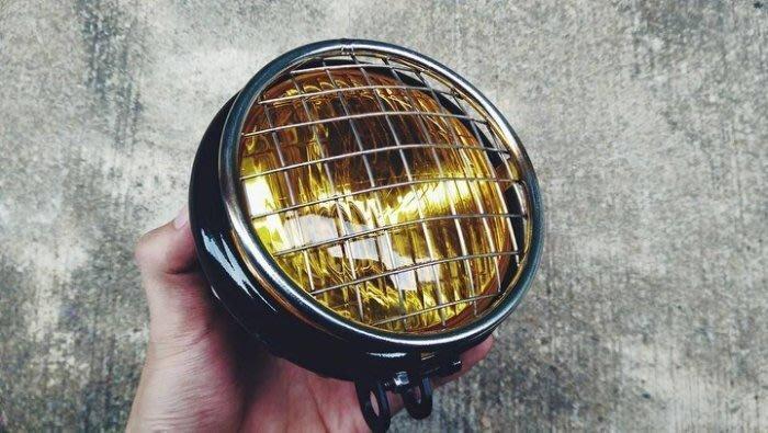 (I LOVE樂多)5.5吋大燈不鏽鋼(原色)柵欄網罩CHOPPER old school HOT ROD越野 滑胎