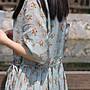 【子芸芳】清新文藝 苧麻印花收腰連衣裙
