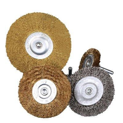 【佰藝家】3寸T型平頭不銹鋼絲刷帶柄銅絲輪木工打磨去毛刺不銹鋼絲花頭(規格不同價格不同)