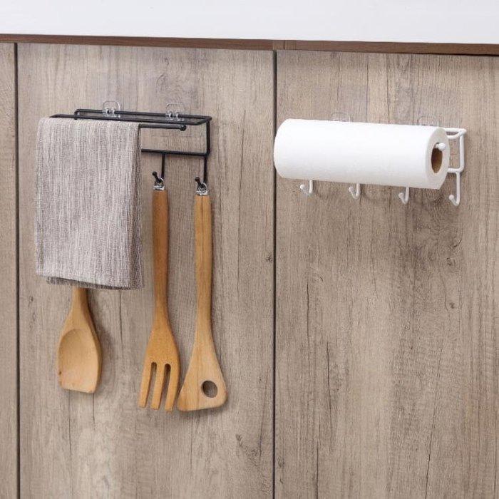 居家家 櫥柜鐵藝粘貼置物架廚房紙巾架 廚具掛鉤柜子整理架收納架 免運費