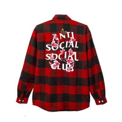 ☆LimeLight☆ Anti Social Social Club Kkock Flannel 櫻花襯衫 紅色