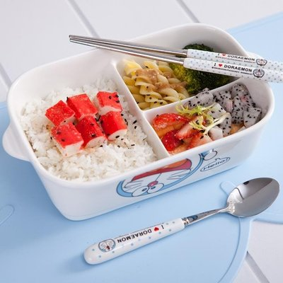 飯盒 韓式陶瓷分隔微波爐飯盒長方可愛卡通成人大號帶蓋分三格碗便