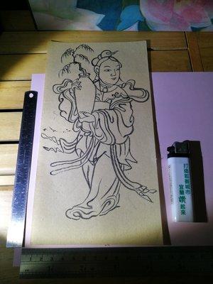 銘馨易拍重生網 107PB09 早期 前輩畫家手稿 抱瓶玉女 墨畫 ... 水墨畫稿 無款及保存如圖 讓藏