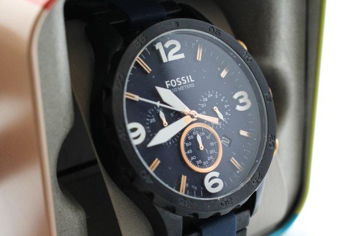【高雄青蘋果3C】 FOSSIL JR1494 重金屬感齒輪風格三眼計時腕錶 深藍 50mm #17682