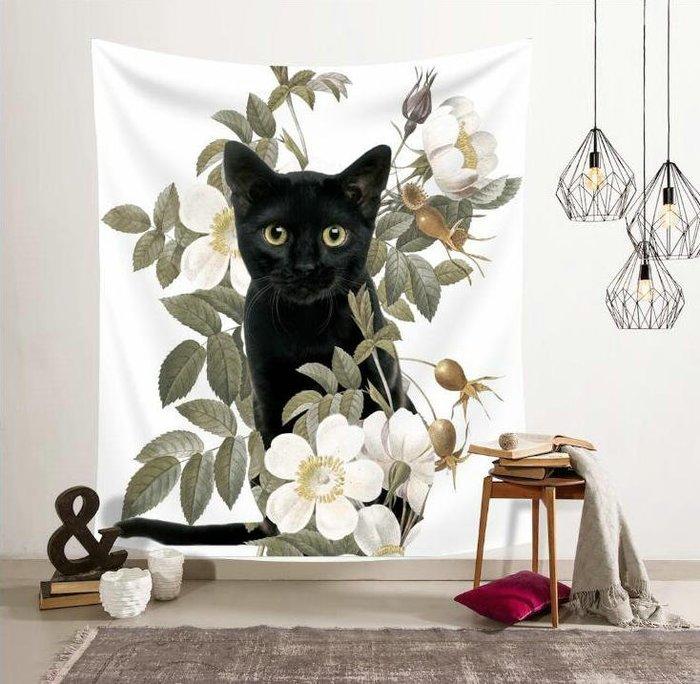 背景布 掛布 墻壁掛飾 背景墻 掛毯 北歐ins掛布可愛貓咪喵星人墻面背景裝飾畫布掛毯藝術沙灘巾桌布