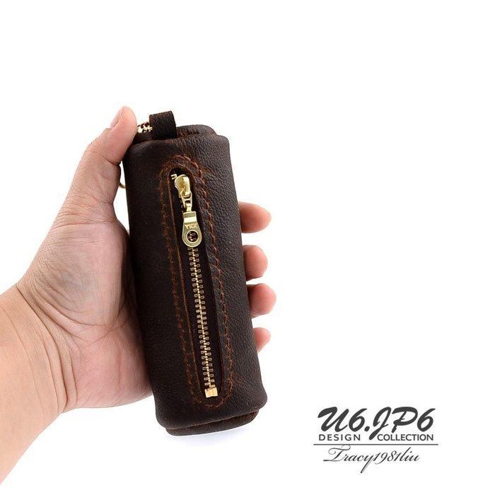 【U6.JP6 手工皮件】-純手工縫製進口牛皮天然手作皮革縫製 .拉鍊式零錢包 / 萬用包 男女適用