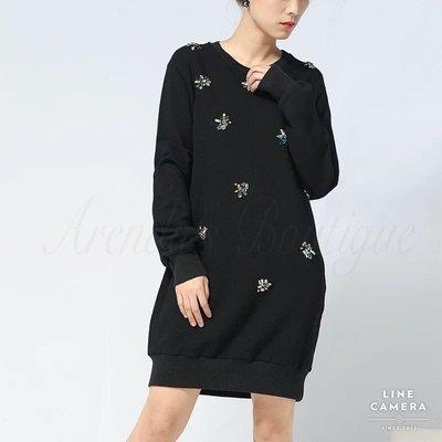 [設計師品牌專櫃OUTLET]黑色圓領鑽飾長袖棉質連衣裙
