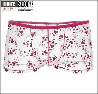 Finite-菲尼特-男士內褲平角褲超薄繡花網紗透氣明蕾絲性感情趣內褲青年