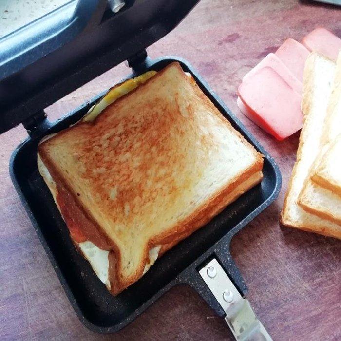 燃氣式三明治面包模具雙面煎鍋吐司模具烤盤不沾節能耐用雙面烤盤