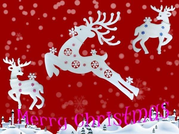 麋鹿壁貼 聖誕節裝飾 飛越麋鹿 1大2小 共3隻 可貼可掛 姿態優雅 壁貼裝飾 聖誕樹 居家 派對佈置 【聖誕特區】