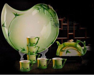5Cgo 【鴿樓】會員優惠 14973081055 琺琅瓷 創意結婚慶實用功夫茶具套裝 擺設家居時尚裝飾工藝品