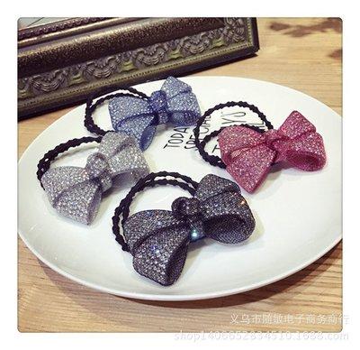 蕾絲網紗鑲鑽蝴蝶結髮圈 韓國精品髮飾 ...