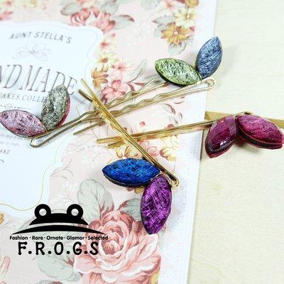 F.R.O.G.S F0073韓國可愛多彩寶石兔耳朵瀏海夾一字夾鴨嘴夾髮飾扁夾髮夾