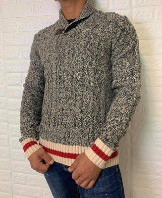Roots 男款 針織上衣 毛衣 新月領木扣針織衫上衣 韓系必備