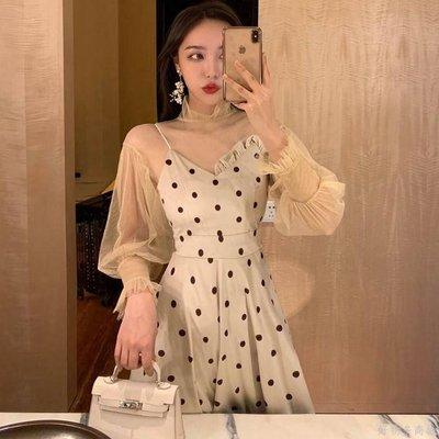 好物多商城 秋裝新款名媛氣質波點吊帶連衣裙+透視網紗衫套裝兩件套女裝