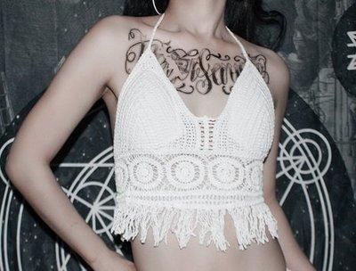 【黑店】度假風白色針織背心 甜美性感針織短版背心 海灘白色勾花背心含三角胸墊 MB210