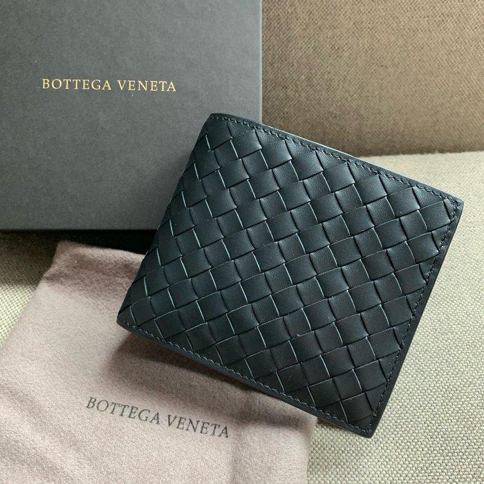 J-Shop Luxury 精品店 BV bottega Veneta 黑色牛皮織皮 男裝短夾