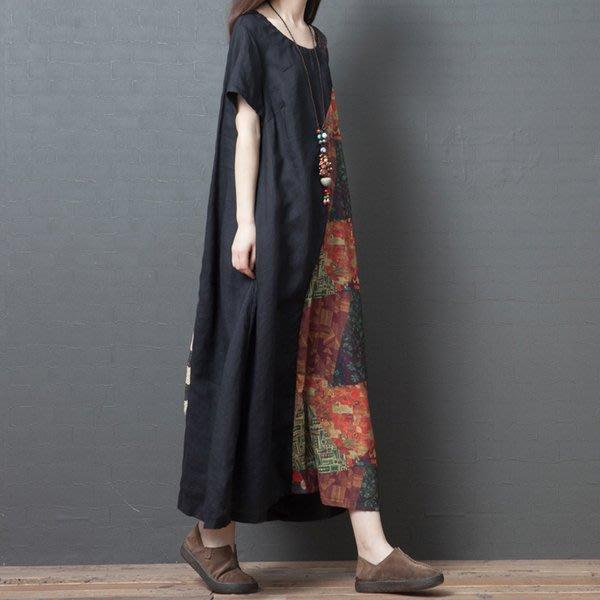 大碼洋裝 民族風女裝夏季新款寬鬆大碼中國風棉麻洋裝印花短袖長裙顯瘦