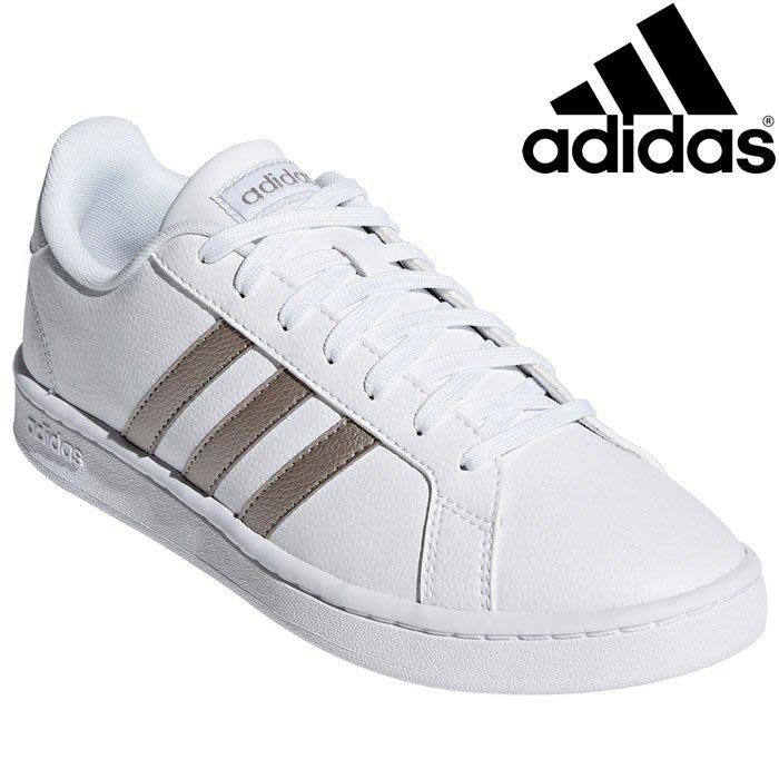 【鞋印良品】ADIDAS 愛迪達 GRAND COURT F36485 白/銀 皮革 縫線 記憶鞋墊 三線 滑板 休閒鞋