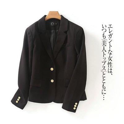 原單小確幸~歐美進口 帥氣利落金色亮麗釦顯瘦西裝外套M//現貨特價489 只兩件
