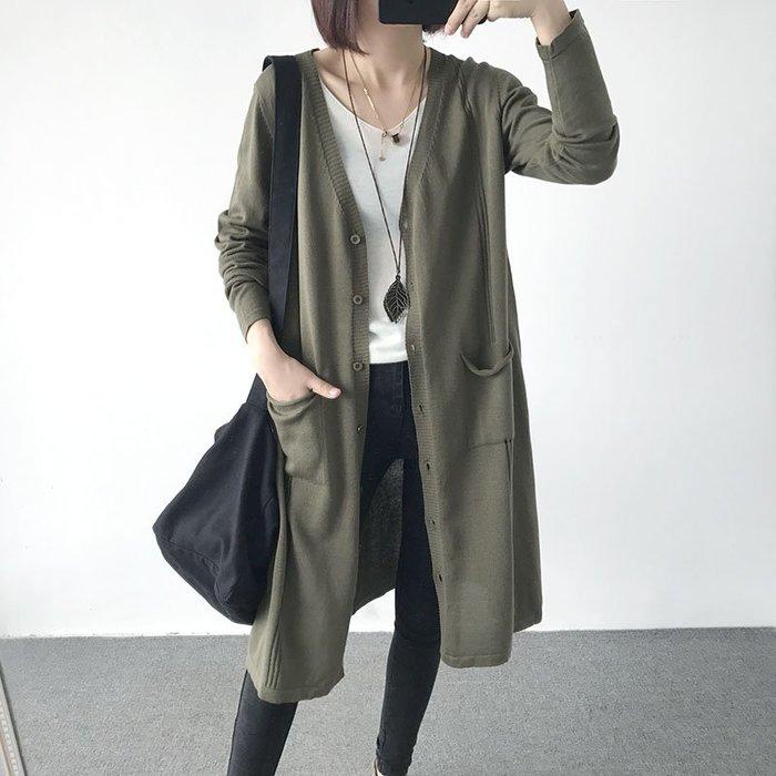 初秋裝新款寬鬆中長款純色V領長袖針織衫毛衣外套