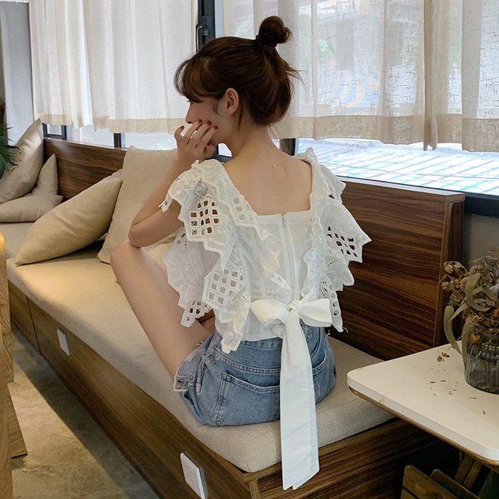 小香風 短袖T恤 時尚穿搭 韓版 修身 顯瘦 心機設計感蝴蝶結上衣短款蕾絲無袖襯衫女夏