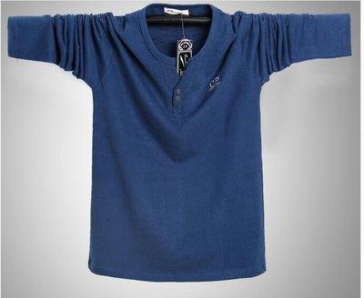 大碼長袖T恤男長袖運動款 純棉雙扣V領T恤 100KG可穿 Y250