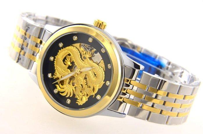 (六四三精品)大型錶徑3.9公分,神龍金色面盤.雙面鏤空.半金色自動上鍊機械錶