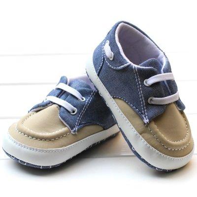 鞋鞋樂園~米色休閒鞋-學步鞋~寶寶鞋~嬰兒鞋~幼兒鞋~軟底鞋~童鞋~娃娃鞋~坐螃蟹車~彌月送禮~鬆緊帶設計
