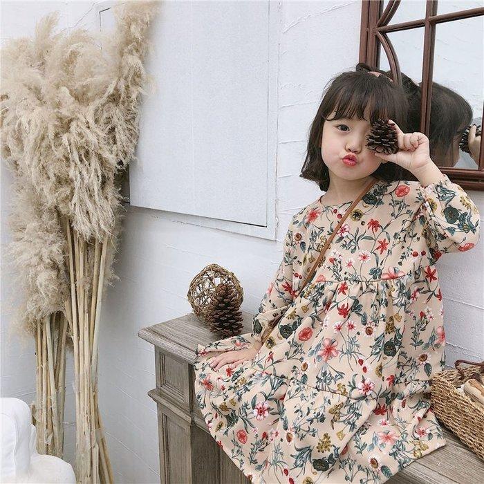 •*~ 辣媽咪衣飾小舖 ~*•❤童裝系列 📣X040238韓版甜美可愛雪紡碎花公主款花朵長袖洋裝