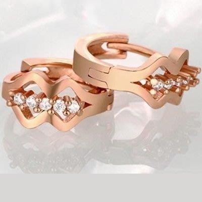 玫瑰金耳環 鑲鑽純銀耳飾-精美時髦細緻設計女飾品2色73bu44[獨家進口][巴黎精品]