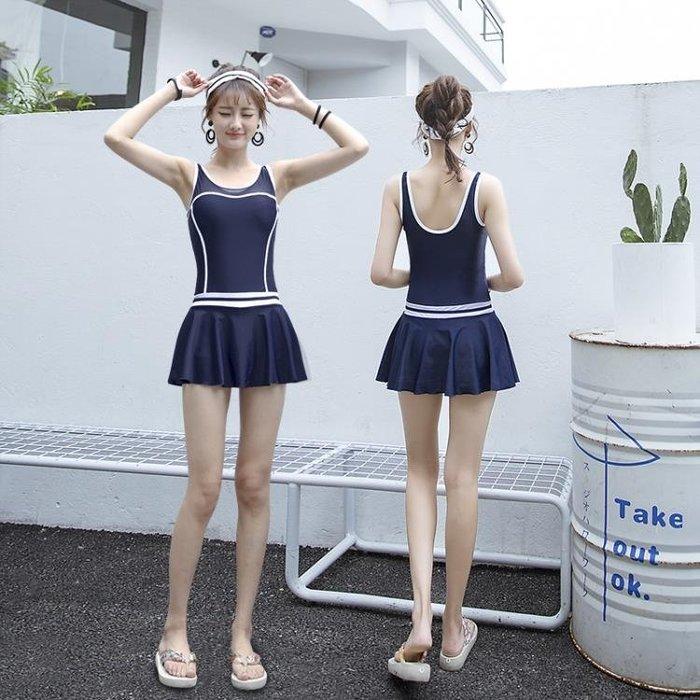 連身游泳衣女2020新款保守遮肚顯瘦裙式少女學生小胸泡溫泉泳裝女BLBH