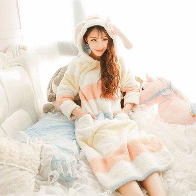 FuNFang_韓版珊瑚绒睡衣@甜美套装_魔法圈圈條紋卡通兔耳