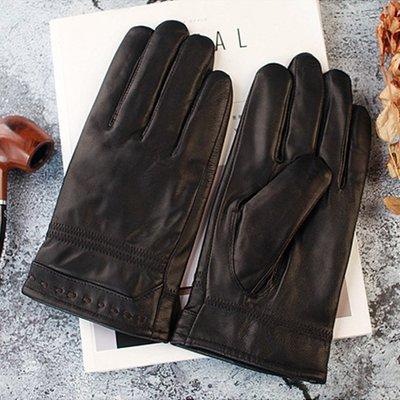 真皮手套羊皮手套-手腕穿線防滑黑色男手套73wf9[獨家進口][米蘭精品]