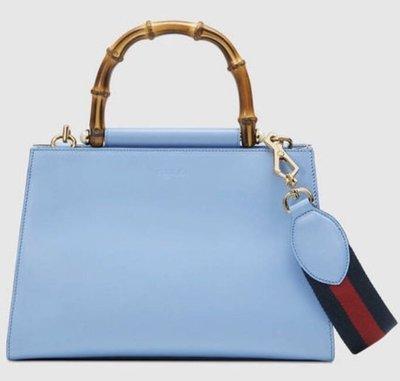 Gucci Nymphaea leather top handle bag 新款竹節手提肩背兩用包 清新藍 氣質款 459076