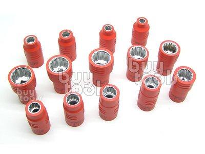 BuyTools-《專業級》絕緣三分套筒/絕緣套筒/符合德國IEC60900認證/台灣製造6~19mm每顆售價「含稅」