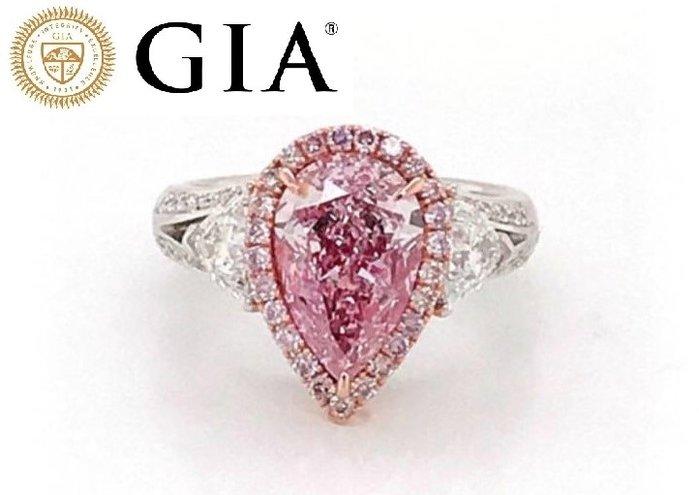 【台北周先生】天然Fancy正粉色鑽石 3.03克拉 主色粉 Even 濃郁 18K金美戒 送GIA證書