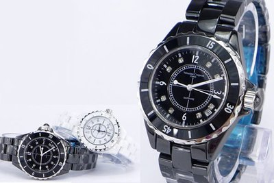 《時光流域》Valentino 范倫鐵諾高精密全陶瓷香奈兒J12風格晶鑽(日期)男錶/ 女錶-水晶鏡面 台中市