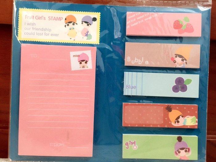 天使熊小鋪~日韓文具 可愛水果女孩系列記號貼 便利貼 合頁N次貼內有六種不同可愛圖案 3款